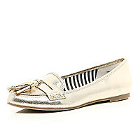 Gold metallic tassel loafers