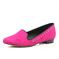 Bright pink pony skin studded slipper shoes