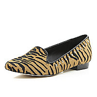 Brown animal print pony studded slipper shoes