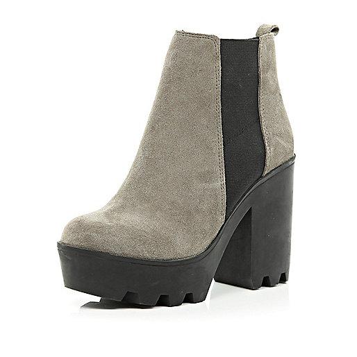 Grey suede block heel Chelsea boots