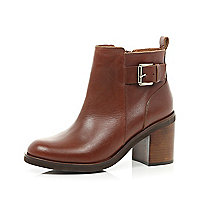 Tan block heel ankle boots