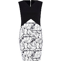 Black marble print cut out bodycon dress