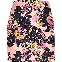 Pink floral print tube skirt