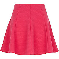 Pink textured skater skirt