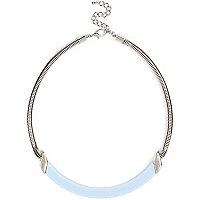 Silver tone and light blue bar necklace
