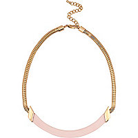 Gold tone and light pink bar necklace