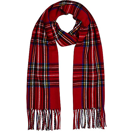 Red tartan blanket scarf
