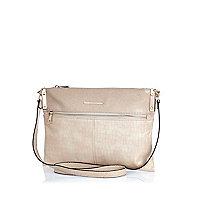 Cream metal trim cross body bag