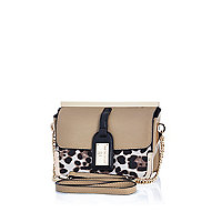 Beige luggage tag trim cross body bag