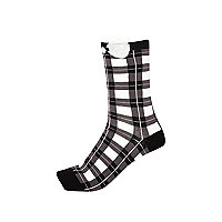 Black check bow trim socks