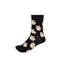 Black Pomeranian print socks