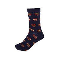 Blue tartan heart print socks