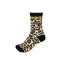 Black leopard chain print socks