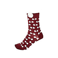 Dark red bow trim socks