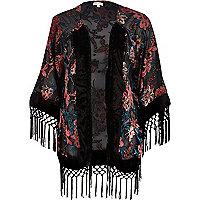 Black floral burnout fringed kimono