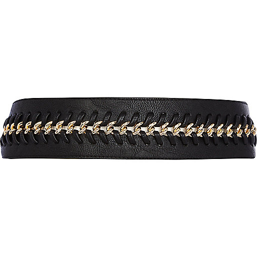 Black plaited chain waist belt
