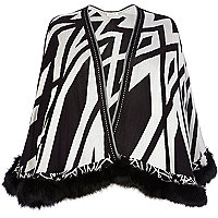 Black geometric print faux fur trim cape