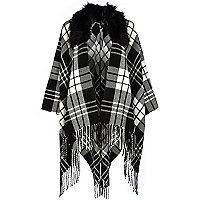 Black and white tartan faux fur trim cape