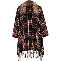 Navy blue tartan faux fur trim cape
