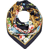 Navy blue floral border print square scarf