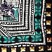 Black stud print satin square scarf