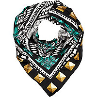 Black stud print satin square scarf