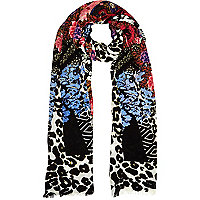Black floral and leopard print long scarf