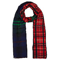 Red and navy two-tone tartan scarf