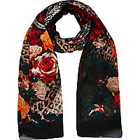 Dark red floral leopard print scarf