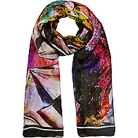 Pink abstract print silky scarf