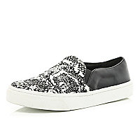 Black snake print colour block plimsolls