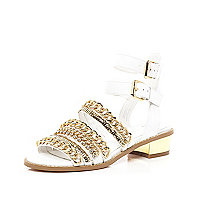 White chain embellished multi strap sandals