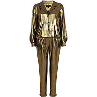 Gold metallic boiler suit