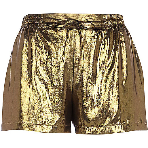 Gold metallic runner shorts