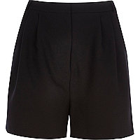 Black high waisted smart shorts