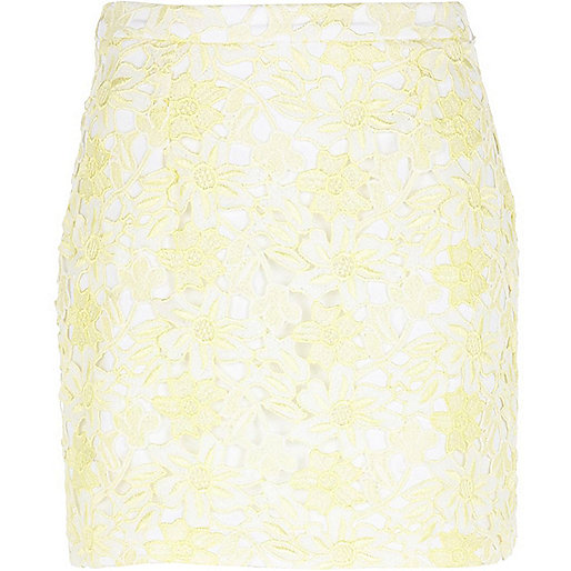 Light yellow lace mini skirt