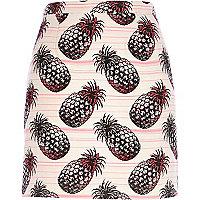 Light pink pineapple print mini skirt