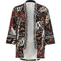 Black tribal print embellished kimono