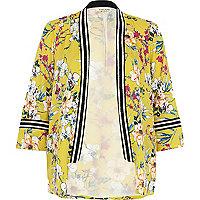 Yellow floral embellished kimono