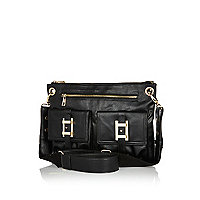 Black front pocket cross body bag