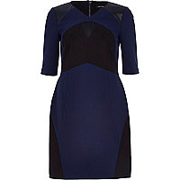 Navy leather-look panel pencil dress