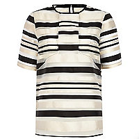 Black organza stripe boxy top