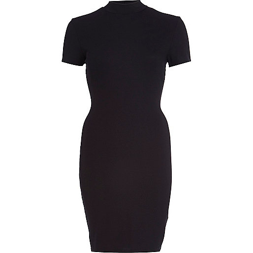 Black turtle neck mini bodycon dress