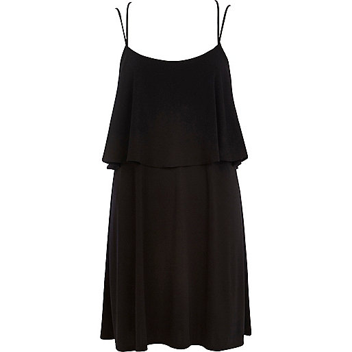 Black layered frill slip dress
