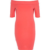 Pink bardot bodycon dress