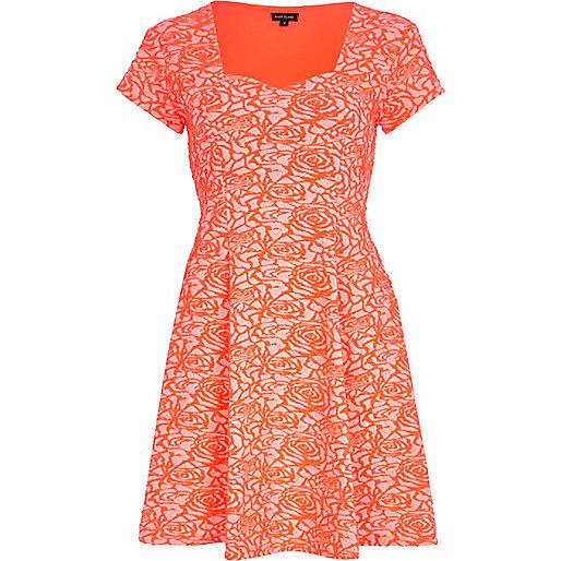 Coral rose print skater dress