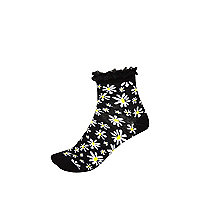 Black daisy print frill trim socks