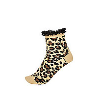 Beige leopard print frill trim socks