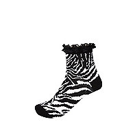 Black zebra print frill trim socks