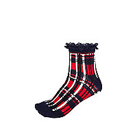 Navy tartan frilly socks
